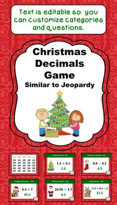 Looking for an easy way to review Decimals during the Christmas season? This is it! With 25 questions and a Final Jeopardy Question, students will have lots of review and they'll enjoy the Christmas themed clip art and color scheme. All the text boxes are editable so you can customize all the categories and questions for your class.