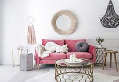 When you turn a dirty old garage into a pretty pink dream! [ living room reveal ❤️] Charlie Lounge   Gold scalloped coffee and side tables   wooden side table  grey velvet ottoman   blush pink wall hanging   white side table   round wooden mirror   round velvet grey button cushion   tasseled white cushion   rug ALL @ozdesignfurniture  @hannahblackmore