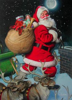 Ho Ho Ho! Santa getting ready to go down the chimney to deliver gifts.