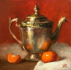 "Saatchi Art Artist Yana Golikova; Painting, ""Metal pitcher and tangerine."" #art"