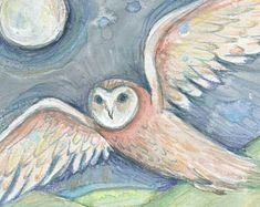 Items similar to Owl magic art print from an original barn owl totem painting on Etsy Funny Bird Pictures, Owl Pictures, Watercolor Canvas, Watercolour Painting, Whimsical Owl, Owl Print, Magic Art, Illustration Artists, Cat Art