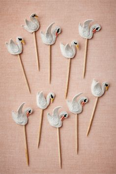 looks like i'm gonna have to host a swan party Swanling Picks Felt Crafts, Diy Crafts, Lake Party, Cake Accessories, Bridal Accessories, Vintage Inspired Wedding Dresses, Animal Party, 12 Days Of Christmas, Birthday Parties