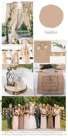 Hazelnut 2017 Wedding Idea Inspirations Using Hazelnut in your wedding showing ideas for using Pantone's Hazelnut for weddings in the 2017 wedding season.
