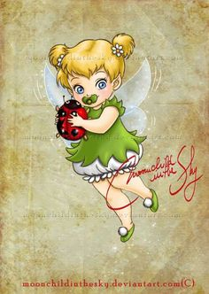 Fan art of baby tinkerbell for fans of classic disney. tinkerbell : ) look at this to cute drugatz Pocahontas Disney, Tinkerbell Disney, Peter Pan And Tinkerbell, Disney Fairies, Disney Fan Art, Disney And More, Disney Love, Disney Play, Disney Princess Babies