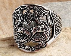 """Viking ring """"Odin's Wolves"""". Sterling silver ring. Fenrir ring. Viking jewelry. Reconstruction. Barrow Black Grave. Ring Wolves"""