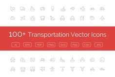 100+ Transportation Vector Icons by Creative Stall on @creativemarket
