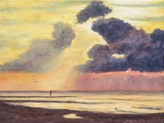 Beach at sunset -  Oil painting by Maria Meester