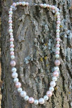 White Pink and Light Pink Pearl necklace by RubysJewelry1 on Etsy, $22.00