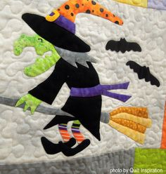 The Mexican holiday known as Día de Los Muertos (Day of the Dead) overlaps with the Western Hemisphere tradition of All Hallow's Eve ( Hal. Halloween Sewing, Halloween Quilts, Halloween Fabric, Halloween Patterns, Halloween Cards, Halloween Ideas, Halloween Decorations, Christmas Quilt Patterns, Baby Quilt Patterns
