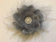 Fascinator Bridal Hair Flower Feather Clip by FancyGirlBoutiqueNYC