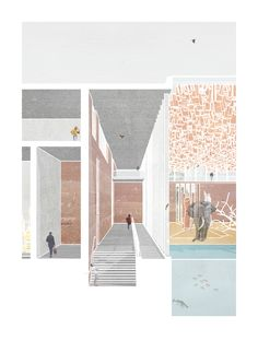 Design project for an elephant house at a regional safari park.  Main Living Space - Simon Cadle - Architecture Collage Visual