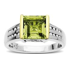8.0mm Square-Shaped Peridot and Diamond Accent Ring in Sterling Silver and 14K Gold - Zales