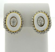 18K Gold Platinum Enamel Diamond Earrings Featured in our upcoming auction on June 28!