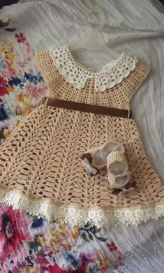 Crochet pink and gray baby dress set with rosebuds comes withThis Pin was discovered by Sha simple pattern online for free.Baby sleeves less sweater Simple Dress Pattern, Crochet Baby Dress Pattern, Baby Dress Patterns, Baby Girl Crochet, Crochet Baby Clothes, Crochet For Kids, Crochet Patterns, Crochet Baby Dresses, Baby Dress Clothes