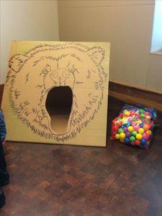 Lumberjack themed birthday party games bear toss