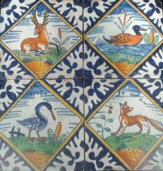 (AD) Arquitectura modernista valenciana. Four tiles decorated with birds and animals in lozenges,from around 1620-40