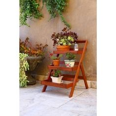 Wood Outdoor Three-Layer Plant Stand with Teak Finish - Free Shipping Today - Overstock.com - 16949383 - Mobile
