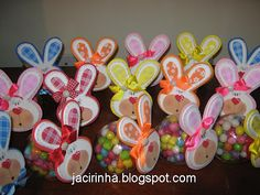 Easter Bunny candy jars - picture only, looks like small Ikea jars, ribbon around lid and face/ears stuck to lid. Adorable!!