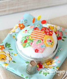 Hexie Pincushion Sewing Tutorial by A Spoonful of Sugar
