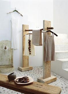 Wooden clothing rack.