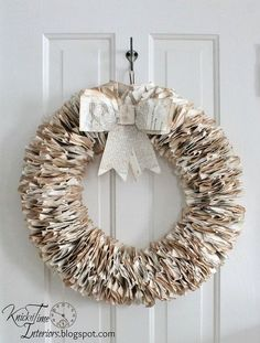 Book Page Wreath - I have pages from old books coming out my ears, so in my quest to use of some of them, I created 2 wreaths from some antique German pages. Christmas Signs, Christmas Projects, Christmas Wreaths, Christmas Crafts, Christmas Decorations, Christmas Candle, Christmas Music, Paper Decorations, Holiday Wreaths