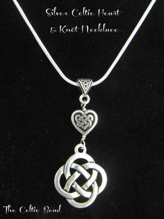 Silver Celtic Knot Heart and Irish Knot Necklace. $18.00, via Etsy.