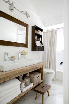 Rustic Custom Vanity Bathroom, Powder Room Dallas - Home Dekor Rustic Bathroom Vanities, Rustic Bathrooms, Bathroom Ideas, Bathroom Designs, White Bathroom, Bathroom Organization, Bathroom Storage, Small Country Bathrooms, Bathroom Renovations