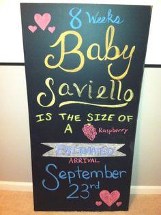 8 week pregnancy chalkboard