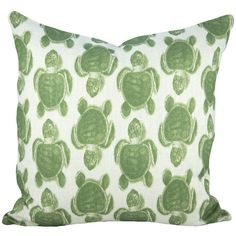 Linen-blend pillow with sea turtle motif. Handmade in the USA exclusively for Joss & Main.  Product: Pillow  Constructi...