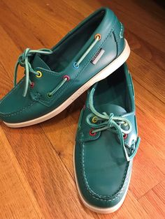 Sebago Docksides Women's Green Teal Leather Boat Shoes Sz 7 M Loafers #Sebago #BoatShoes #Casual