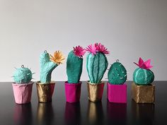 paper mache cacti by Bramble Workshop