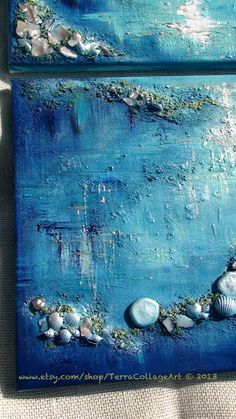 Moonglow 12x24 inches Diptych. Original Mixed by TerraCollageArt