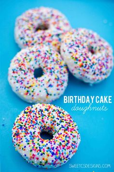 birthday cake doughnuts- these are so delicious and a fun twist on individual cakes! at http://sweetcsdesigns.com #cake #doughnut #glutenfree