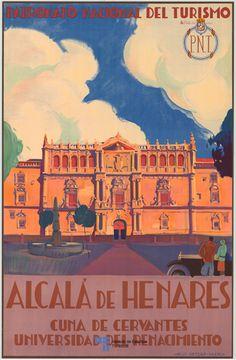 Poster de Turismo de Alcala de Henares del año 1920, en la Comunidad de Madrid, Spain