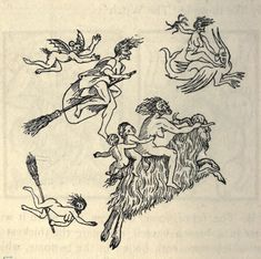 nemfrog - Witches in the air. The Devil in Britain and America. Medieval Witch, Medieval Art, Medieval Tattoo, Medieval Drawings, Woodcut Art, Ange Demon, Occult Art, Tattoo Flash Art, Antique Illustration