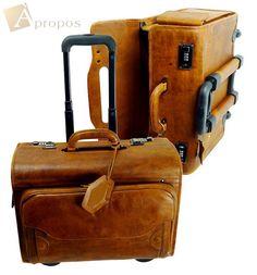 Vintage Look  Pilotenkoffer 45cm Leder Reisekoffer Aktenkoffer Weekender Braun