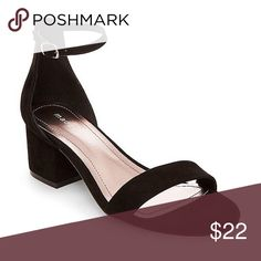 """Madden Girl Lillian Black Dress Sandals Size 6M Brand new in box Women size 6M Fast shipping  ‼️price firm‼️ Featured in black 2"""" covered block heel Open toe Closed back with elongated heel tab Slim adjustable buckled ankle strap Polyurethane lining Pure PVC outsole with fabric flocking Microsuede upper Imported Madden Girl Shoes Sandals"""