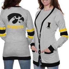 Iowa Hawkeyes NCAA Ladies Ash Study Hall Long Sleeve Cardigan