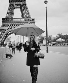 Elegant fashion, Paris, Rain, umbrella, Eiffel tower, romantic in the rain, Brigitte Bardot style