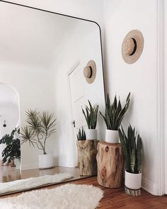 Make small spaces seem larger with a giant mirror. This idea will evolve any room into a beautiful clean space. Make small spaces seem larger with a giant mirror. This idea will evolve any room into a beautiful clean space. Decoration Bedroom, Decor Room, Bedroom Plants Decor, Small Room Decor, Decor For Small Spaces, Small Livingroom Ideas, Home Ideas Decoration, Home Decorations, Loving Room Decor