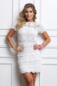 Белое платье с мотивами | Вязание для женщин | Вязание спицами и крючком. Схемы…