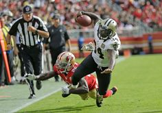 Saints vs. 49ers:  November 6, 2016  -  41-23, Saints  -     New Orleans Saints running back Tim Hightower goes tumbling with ball while being stopped by San Francisco 49ers cornerback Tramaine Brock, left, during the first half of an NFL football game Sunday, Nov. 6, 2016, in Santa Clara, Calif.