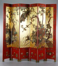 19th C. Chinese Folding Screen : Lot 4085