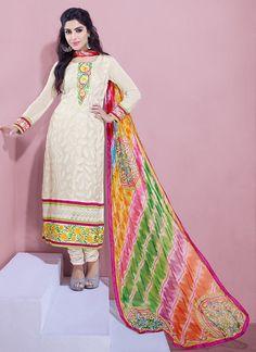 Graceful Off White #Churidar #Suit