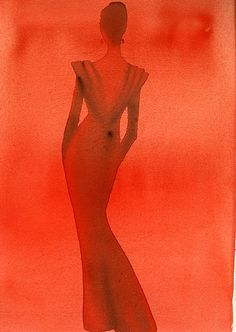 Fashion Illustration by Mats Gustafson (Swedish, 1951)    Date of Original: 1987-1988    Red silhouette of back view figure in red low-cut sheath; Color: watercolor; Signed verso; Client Valentino's Red Book produced by Vogue Italia