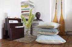 Baia, Kissen Set - beige,blaue,türkises Leinen,gelber Reißverschluss – HETTI.