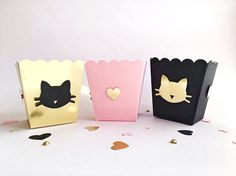 Cat Party Candy Boxes Meow Kitten Girl Birthday Bachelorette Party Decorations Girl Baby Shower Pink Black Gold Custom Favor Popcorn Boxes -- Looking for Girl Birthday, Bachelorette Party or Shower decorations?! Pink Gold Black Meow Candy Boxes make your party adorable and perfect to