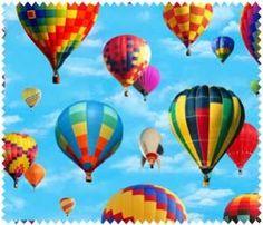 Hot Air Balloons on Sky Blue Elizabeth/'s Studio YARD In Motion Fabric