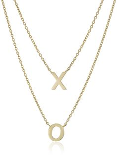 14k Yellow Gold 'X and O' Layered Necklace, 18' * Check this awesome product by going to the link at the image. (This is an Amazon Affiliate link and I receive a commission for the sales)