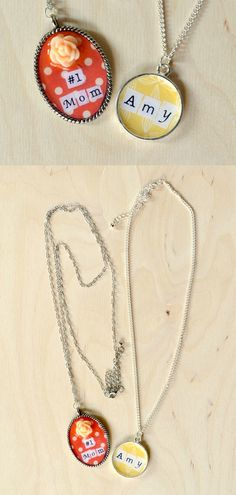 Make a personalized necklace using Mod Podge and your favorite papers!